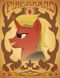 Size: 612x792 | Tagged: safe, artist:samoht-lion, oc, oc only, oc:firebrand, pony, unicorn, bust, clothes, grin, horn, male, smiling, solo, stallion, text, unicorn oc