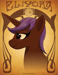 Size: 612x792 | Tagged: safe, artist:samoht-lion, oc, oc only, oc:eliyora, pony, unicorn, bust, female, horn, mare, smiling, solo, text, unicorn oc