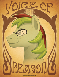 Size: 612x792 | Tagged: safe, artist:samoht-lion, oc, oc only, oc:voice of reason, earth pony, pony, bust, earth pony oc, female, male, mare, smiling, solo, stallion, text