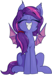 Size: 806x1155 | Tagged: 2020 community collab, artist:t72b, bat pony, bat pony oc, cute, cute little fangs, derpibooru community collaboration, derpibooru exclusive, eyes closed, fangs, grin, oc, ocbetes, oc:evening's dawn, pony, safe, simple background, sitting, smiling, solo, transparent background