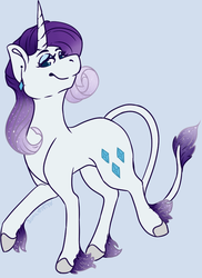 Size: 626x861 | Tagged: artist:sona-artist, classical unicorn, cloven hooves, ear piercing, earring, g5, jewelry, leak, leonine tail, piercing, pony, rarity, rarity (g5), safe, simple background, smiling, solo, spoiler:g5, unicorn, unshorn fetlocks