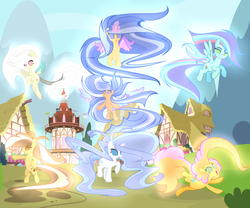 Size: 5999x4998 | Tagged: safe, artist:galaxyswirlsyt, oc, oc only, oc:apple pie, oc:destiny, oc:galaxy swirls, oc:party pie, oc:rainbow blitzes, oc:sky city, oc:velvet sentry, earth pony, hybrid, pegasus, pony, unicorn, absurd resolution, base used, female, generation xerox, glowing eyes, interspecies offspring, magic, mare, next generation, offspring, parent:applejack, parent:caramel, parent:cheese sandwich, parent:discord, parent:fancypants, parent:flash sentry, parent:fluttershy, parent:pinkie pie, parent:rainbow dash, parent:rarity, parent:soarin', parent:twilight sparkle, parents:carajack, parents:cheesepie, parents:discoshy, parents:flashlight, parents:raripants, parents:soarindash, rainbow power, rainbow power-ified