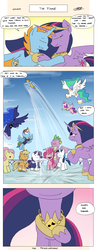 Size: 2550x6600 | Tagged: alicorn, alicorn tetrarchy, applejack, artist:loreto-arts, big crown thingy 2.0, comic, dragon, earth pony, end of ponies, fluttershy, mane seven, mane six, oc, oc:harmony star, older, older applejack, older fluttershy, older mane 6, older mane 7, older pinkie pie, older rainbow dash, older rarity, older spike, older twilight, pegasus, pinkie pie, pony, princess cadance, princess celestia, princess luna, princess twilight 2.0, rainbow dash, rarity, safe, spike, spoiler:s09e26, teary eyes, the last problem, twilight sparkle, twilight sparkle (alicorn), unicorn, winged spike