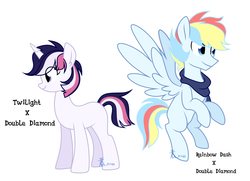 Size: 2415x1746 | Tagged: safe, artist:yaaaco, oc, oc only, pegasus, pony, unicorn, half-siblings, offspring, parent:double diamond, parent:rainbow dash, parent:twilight sparkle, parents:diamondlight, parents:doubledash, simple background, white background