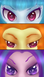Size: 1200x2100 | Tagged: adagio dazzle, aria blaze, artist:neko-luvz, cutie mark, cutie mark eyes, equestria girls, eye, eye reflection, eyes, persona eyes, reflection, safe, sonata dusk, the dazzlings, wingding eyes