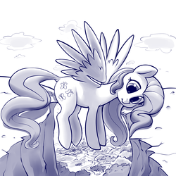 Size: 4000x4000 | Tagged: safe, artist:dimfann, fluttershy, pegasus, pony, series:pony re-watch, dragonshy, absurd resolution, cute, dock, female, hop skip and jump, mare, monochrome, scene interpretation, shyabetes, silly, silly pony, sketch, solo, spread wings, this is fine, wings