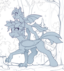 Size: 1800x2012 | Tagged: artist:yakovlev-vad, bat pony, bipedal, bipedal leaning, duo, female, forest, hippogriff, leaning, lineart, mare, monochrome, oc, oc:gertrude, oc:inky, oc only, ponies riding ponies, pony, riding, safe, scroll, spread wings, wings