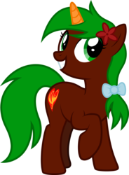 Size: 1533x2087 | Tagged: 2020 community collab, artist:lightning stripe, bow, brown coat, colored horn, cutie mark, derpibooru community collaboration, derpibooru exclusive, eyelashes, female, flower, flower in hair, green eyes, green mane, green tail, grin, hair bow, horn, mare, oc, oc only, oc:razor blade, one leg raised, pony, ponytail, safe, show accurate, simple background, smiling, solo, transparent background, unicorn, vector
