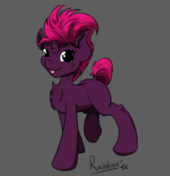 Size: 2087x2157 | Tagged: artist:rainihorn, broken horn, chest fluff, female, fizzlepop berrytwist, horn, looking at you, mare, pony, safe, simple background, smiling, solo, standing, tempest shadow, three quarter view, tongue out, unicorn