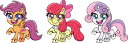 Size: 2959x1000 | Tagged: safe, artist:cloudyglow, apple bloom, scootaloo, sweetie belle, earth pony, pegasus, pony, unicorn, my little pony: pony life, chibi, cutie mark crusaders, female, goldie delicious' scarf, happy, mare, older, older apple bloom, older cmc, older scootaloo, older sweetie belle, open mouth, raised hoof, simple background, smiling, transparent background, unshorn fetlocks