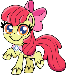 Size: 3000x3394 | Tagged: safe, artist:cloudyglow, apple bloom, earth pony, pony, my little pony: pony life, chibi, female, goldie delicious' scarf, happy, looking at you, mare, older, older apple bloom, raised hoof, simple background, smiling, solo, transparent background, unshorn fetlocks