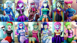 Size: 3840x2160 | Tagged: artist:the-butch-x, blueberry cake, bon bon, butch's hello, cherry crash, cute, dj pon-3, drama letter, equestria girls, glasses, grin, happy, looking at you, lyra heartstrings, majorette, mystery mint, one eye closed, open mouth, photo finish, safe, smiling, sophisticata, sweeten sour, sweetie drops, tongue out, trixie, vinyl scratch, violet blurr, wallpaper, watermelody, waving, wink