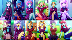 Size: 3840x2160 | Tagged: artist:the-butch-x, belly button, butch's hello, crossed legs, crystal lullaby, cute, equestria girls, fleur-de-lis, football, frosty orange, garden grove, grin, happy, headphones, indigo zap, lemon zest, lidded eyes, looking at you, melon mint, open mouth, orange sherbette, safe, schrödinger's pantsu, smiling, sports, sunny flare, suri polomare, unamused, upper crust, wallpaper, waving, zephyr