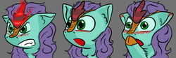 Size: 600x200 | Tagged: safe, artist:skydreams, oc, oc only, oc:searing cold, kirin, angry, blushing, commission, ear blush, emoji, emote, emotes, glowing horn, horn, kirin oc, male, shocked, shocked expression, stallion, surprised, surprised face