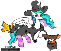 Size: 932x788   Tagged: safe, artist:jargon scott, editor:cocoa bittersweet, princess celestia, alicorn, pony, broom, candy, cauldron, clothes, costume, female, flying, flying broomstick, food, halloween, halloween costume, holiday, manepxls, mare, pixel art, pxls.space, simple background, smiling, socks, solo, striped socks, transparent background, witch