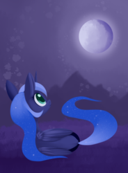 Size: 1428x1936 | Tagged: alicorn, artist:dusthiel, both cutie marks, female, looking up, mare, moon, night, pony, princess luna, prone, safe, solo