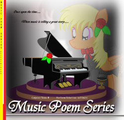 Size: 2000x1936 | Tagged: safe, artist:avchonline, oc, oc only, oc:sean, pegasus, pony, bowtie, clothes, colt, cover art, flower, flower in hair, grand piano, male, musical instrument, piano, solo, suit