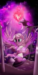 Size: 900x1776 | Tagged: safe, artist:manifest harmony, oc, oc:chosen heart, alicorn, pony, alicorn oc, ascension, awesome, battlefield, fire of friendship, heart nostrils, shield, sword, weapon