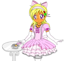 Size: 3872x3232 | Tagged: safe, artist:avchonline, oc, oc:sean, human, alice in wonderland, bow, clothes, cosplay, costume, crossdressing, crossover, dress, evening gloves, femboy, flower, flower in hair, gloves, hair bow, headband, humanized, long gloves, male