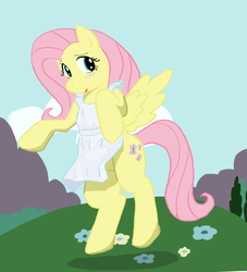 Size: 1087x1198 | Tagged: safe, artist:seidouryu, fluttershy, pegasus, pony, apron, clothes, cloud, featureless crotch, female, mare, naked apron, rearing, solo