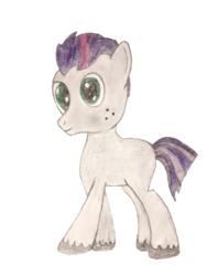 Size: 940x1253 | Tagged: safe, artist:soulless_76, oc, oc only, oc:dawn ash, earth pony, pony, 2020 community collab, derpibooru community collaboration, blank flank, colored, freckles, male, no cutie marks yet, photo, simple background, solo, stallion, traditional art, transparent background, unshorn fetlocks
