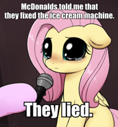 Size: 558x599 | Tagged: safe, artist:captain metric, artist:moozua, edit, fluttershy, pegasus, pony, big eyes, blushing, caption, crying, crying cat, cute, dilated pupils, female, floppy ears, hoof hold, hooves, image macro, looking at you, mare, mcdonald's, meme, microphone, offscreen character, ponified animal photo, ponified meme, sad, sadorable, shyabetes, solo focus, teary eyes, text