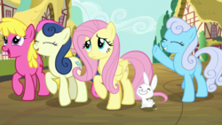 Size: 1920x1080 | Tagged: angel bunny, between dark and dawn, bon bon, cherry berry, fluttershy, linky, safe, screencap, shoeshine, spoiler:s09e13, sweetie drops