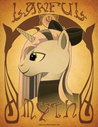 Size: 612x792 | Tagged: safe, artist:samoht-lion, oc, oc only, oc:lawful myth, pony, unicorn, bow, bust, clothes, female, hair bow, horn, mare, smiling, solo, text, unicorn oc