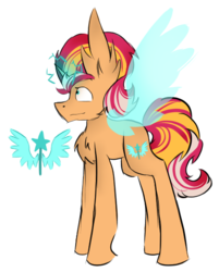Size: 462x576 | Tagged: artificial wings, artist:hunterthewastelander, augmented, chest fluff, female, glowing horn, horn, magic, magic wings, mare, oc, oc only, offspring, parent:fire streak, parents:sunsetstreak, parent:sunset shimmer, pony, safe, simple background, solo, unicorn, white background, wings