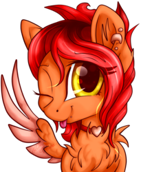 Size: 1800x2199 | Tagged: safe, artist:gleamydreams, oc, oc only, oc:fireblitz, pegasus, pony, chest fluff, ear fluff, golden eyes, jewelry, looking at you, necklace, one eye closed, piercing, red hair, smiling, solo, tongue out, wink