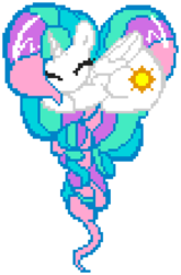 Size: 576x872 | Tagged: safe, artist:allet the cat, artist:pyrestriker, princess celestia, alicorn, pony, cutie mark, female, heart pony, horn, manepxls, mare, pixel art, pxls.space, simple background, solo, transparent background, wings