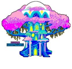 Size: 906x873 | Tagged: safe, artist:allet the cat, tree of harmony, pony, uprooted, spoiler:s09e03, crystal, crystal tree, manepxls, pixel art, pxls.space, simple background, transparent background, tree, treehouse of harmony