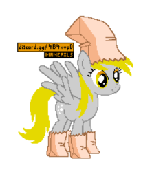 Size: 772x872 | Tagged: safe, editor:cocoa bittersweet, derpy hooves, pegasus, pony, bag, bags, clothes, costume, cutie mark, female, manepxls, mare, nightmare night, nightmare night costume, paper bag, paper bag wizard, paper bags, pixel art, pxls.space, simple background, smiling, solo, transparent background, wings