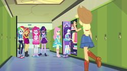 Size: 1920x1080 | Tagged: animation error, applejack, applejack's hat, barrette, book, boots, bracelet, clothes, converse, cowboy hat, crossed arms, denim skirt, dress, equestria girls, equestria girls series, fluttershy, geode of empathy, geode of fauna, geode of shielding, geode of sugar bombs, geode of super speed, glasses, hallway, hat, holidays unwrapped, humane five, humane seven, humane six, jacket, jewelry, leggings, lockers, looking at someone, magical geodes, miniskirt, mirror, pants, pencil skirt, perfume, pinkie pie, ponytail, raglan shirt, rainbow dash, rarity, safe, school, sci-twi, screencap, shirt, shoes, skirt, smiling, sneakers, spoiler:eqg series (season 2), standing, stetson, striped shirt, sunset shimmer, t-shirt, twilight sparkle, waving, wristband