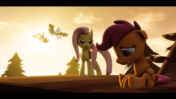 Size: 1920x1080   Tagged: safe, artist:skylairo, derpy hooves, fluttershy, rainbow dash, scootaloo, pegasus, pony, 3d, flying, scootaloo can't fly, sky, sunset, wings