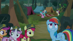 Size: 1920x1080   Tagged: safe, screencap, apple bloom, aquamarine, boysenberry, peach fuzz, rainbow dash, scootaloo, sweetie belle, earth pony, pegasus, pony, unicorn, between dark and dawn, spoiler:s09e13, bow, cutie mark crusaders, filly guides, filly scouts, forest, picnic blanket, tail bow, tent