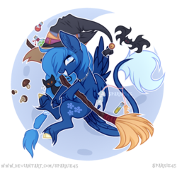 Size: 1715x1640   Tagged: safe, artist:sparkie45, oc, oc:lorelei snowflake, bat, pegasus, pony, broom, female, flying, flying broomstick, hat, hoof fluff, mare, simple background, solo, transparent background, witch hat