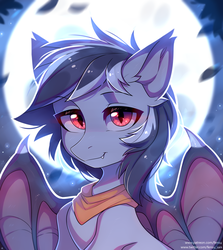 Size: 2672x3000 | Tagged: safe, artist:fensu-san, oc, oc:stormdancer, bat pony, pony, vampire, vampony, bat pony oc, bust, fangs, looking at you, male, moon, portrait, solo, wings