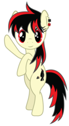 Size: 3217x5834   Tagged: safe, artist:really-unimportant, oc, oc:raven fear, pony, hello, simple background, solo, transparent background, waving