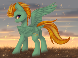 Size: 2592x1932 | Tagged: artist:avrameow, butt, chest fluff, ear fluff, female, leg fluff, lightning, lightning dust, looking at you, mare, pegasus, plot, pony, profile, safe, solo, spread wings, wings