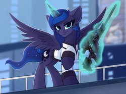 Size: 2700x2010   Tagged: safe, artist:shadowreindeer, princess luna, oc, oc:night-connor, alicorn, pony, robot, blurry background, clothes, connor, cosplay, costume, crossover, detroit: become human, female, glowing horn, gun, gynoid, horn, jacket, levitation, looking at you, magic, mare, rifle, rk900, sniper rifle, solo, spread wings, telekinesis, weapon, wings
