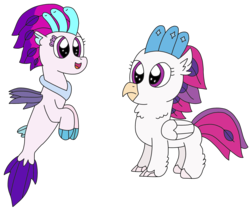 Size: 2522x2131 | Tagged: artist:supahdonarudo, birb, classical hippogriff, cute, female, fluffy, hippogriff, my little pony: the movie, novobetes, queen novo, safe, seapony (g4), simple background, transparent background, younger