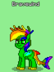 Size: 535x714 | Tagged: safe, artist:bravewind, oc, oc only, oc:bravewind, original species, pony, pony town, antlers, bat wings, donut steel, hidden cutie mark, multicolored hair, original character do not steal, pixel art, rainbow antlers, rainbow hair, rainbow tail, shadow, shark tail, solo, title, turtwig feet, wings