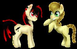 Size: 3900x2482 | Tagged: safe, artist:blondiegurl1129, oc, oc:lassie jack, oc:raven fear, pony, best friends, simple background, transparent background
