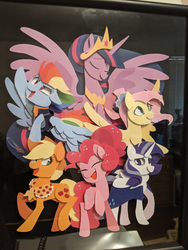 Size: 3024x4032 | Tagged: alicorn, applejack, artist:kuragekami, artist:pinweena30, big crown thingy 2.0, cape, clothes, cowboy hat, earth pony, eyes closed, female, fluttershy, hat, mane six, mare, older, older applejack, older fluttershy, older mane 6, older pinkie pie, older rainbow dash, older rarity, older twilight, pegasus, pinkie pie, pony, princess twilight 2.0, rainbow dash, rarity, safe, scarf, shadowbox, smiling, source needed, spoiler:s09e26, the last problem, twilight sparkle, twilight sparkle (alicorn), unicorn