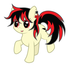 Size: 3500x3100   Tagged: safe, artist:ethaes, oc, oc:raven fear, pony, happy, raised hoof, simple background, solo, transparent background, vector, walking