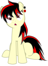Size: 2353x3200   Tagged: safe, artist:maxis122, oc, oc:raven fear, pony, front view, huh, simple background, sitting, solo, transparent background, trottingham, vector