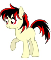 Size: 2000x2326   Tagged: safe, artist:luuandherdraws, oc, oc:raven fear, pony, happy, missing cutie mark, no cutie mark for some reason, simple, simple background, solo, transparent background, vector