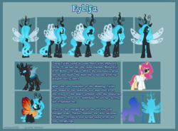 Size: 5650x4188 | Tagged: safe, artist:paradiseskeletons, oc, oc:queen fylifa, changeling, changeling queen, unicorn, blue changeling, changeling oc, changeling queen oc, disguise, disguised changeling, drone, glowing mane, reference sheet
