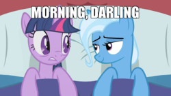 Size: 700x394   Tagged: safe, artist:dtkraus, edit, trixie, twilight sparkle, pony, unicorn, bed, bedroom eyes, caption, darling, eye contact, female, frown, gritted teeth, image macro, lesbian, looking at each other, mare, meme, shipping, smiling, star trek, star trek: the next generation, text, twilight's morning after, twixie, unicorn twilight, wallpaper, wide eyes